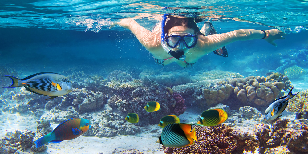 Young Women Snorkeling