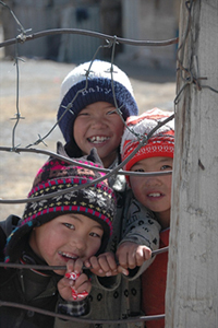 A photo of children in Sary Tash, Kyrgyzstan from an Uncornered Market photo essay.