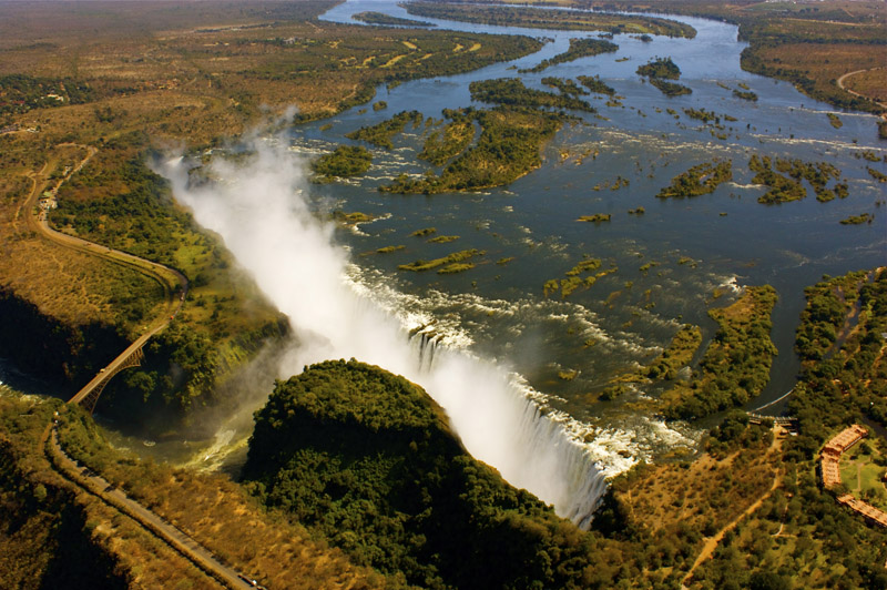 Victoria Falls viewed from the air near Gorges Lodge