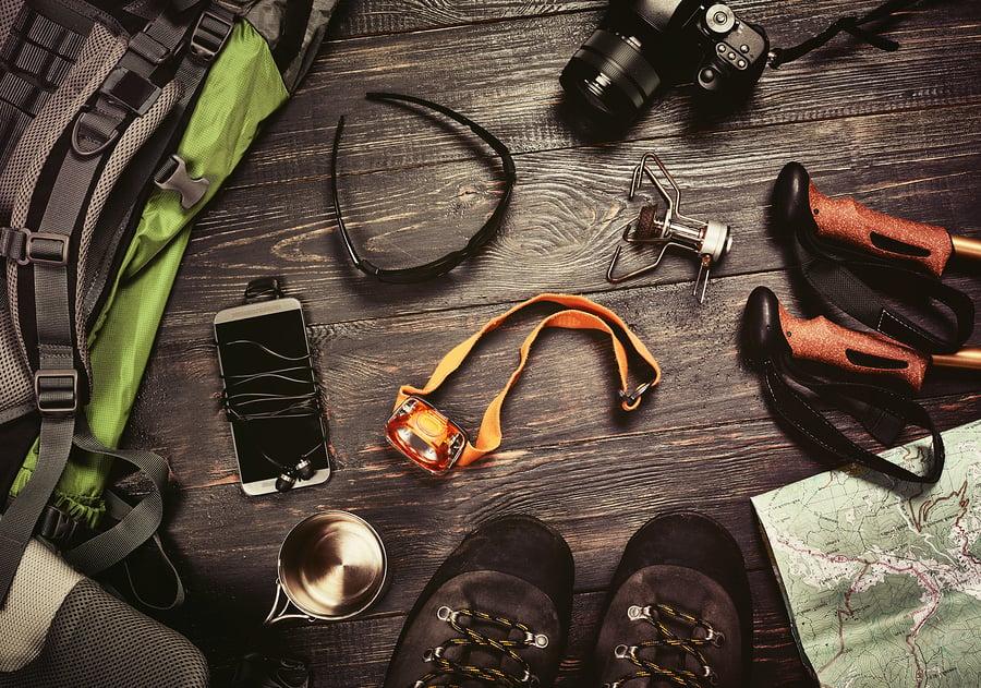 bigstock-Hiking-accessories-set-on-dark-145179593